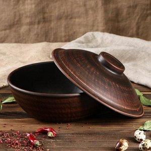 Набор посуды из красной глины, 9 предметов, сковорода 3 л, глубокие тарелки 0,6 л, плоская тарелка 20 см