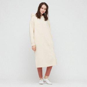 Спортивное платье с капюшоном ,белый