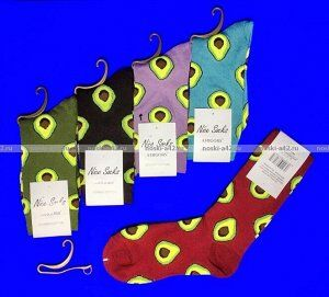 "Nice Socks ""АВОКАДО"" ЦВЕТНЫЕ носки женские на вешалке"