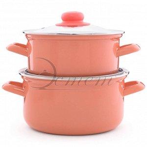 Набор посуды абрикосовый цилиндрический 2,0 л 3,0л 4 пр , цвет абрикосовый