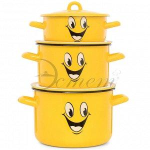 """Набор посуды """"Улыбка"""" цилиндрический 1,45 л  2,9 л  4,3 л 6 пр"""