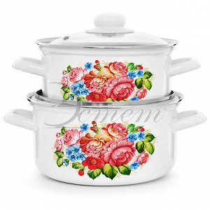 """Набор посуды """"Розы"""" цилиндрический 2,0+3,0 л 4 пр"""