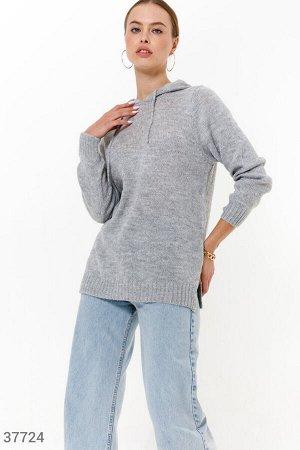 Теплое вязаное худи