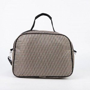 Сумка дорожная, отдел на молнии, наружный карман, длинный ремень, цвет чёрный/бежевый