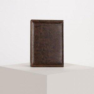 Обложка для паспорта, загран, прошитый, цвет коричневый