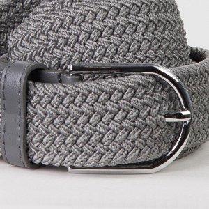 Ремень женский, резинка плетёнка, пряжка металл, ширина 3,5 см, цвет светло-серый