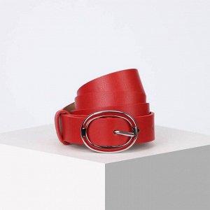 Ремень женский, ширина 3 см, винт, пряжка металл, цвет красный