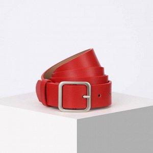 Ремень женский, ширина 3,5 см, винт, пряжка металл, цвет красный