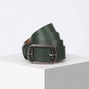 Ремень женский, ширина 3,5 см, пряжка металл, цвет зелёный