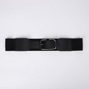 Ремень женский, ширина 5 см, резинка, гвоздик, пряжка металл, цвет чёрный