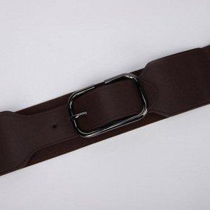 Ремень женский, ширина 5 см, резинка, гвоздик, пряжка металл, цвет коричневый