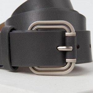 Ремень, ширина 3.5 см, винт, пряжка металл, цвет серый