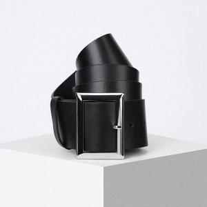 Ремень женский, ширина 6 см, винт, пряжка металл, цвет чёрный