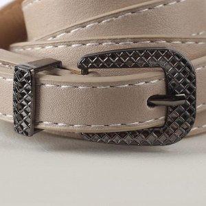 Ремень женский, ширина 1,4 см, гладкий, пряжка металл, цвет серый