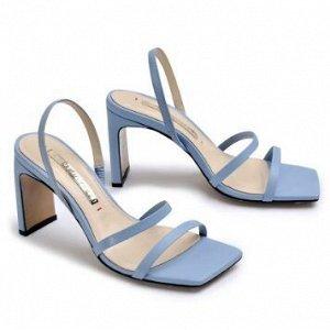 Босоножки Кожа голубая Высота каблука 8 см