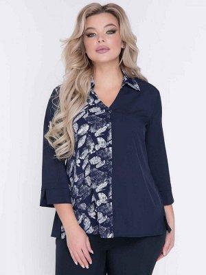 """Блузки Блузка полуприлегающего силуэта, выполнена из эффектного сочетания однотонной и принтованной легкой блузочной ткани. - однотонная расцветка и контрастный принт""""листья"""" - V-образная горловина"""