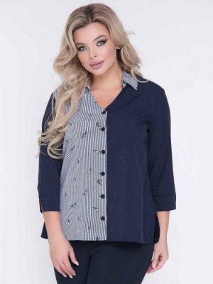 """Блузки Блузка полуприлегающего силуэта, выполнена из эффектного сочетания однотонной и принтованной легкой блузочной ткани. - однотонная расцветка и контрастный принт""""птички"""" - V-образная горловина"""