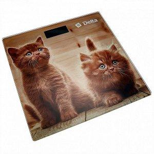 """Весы 150 кг 28х28 см электронные напольные DELTA D-9229 """"Рыжие котята"""""""