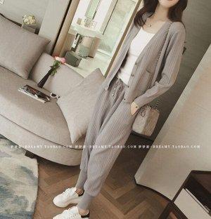 Кардиган+топ+брюки,серый