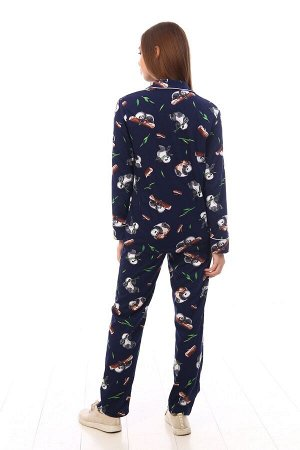"Пижама Пижама ""Панда"" тёмно-синяя (М-518). Кулирка (хлопок)."