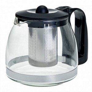 Заварочный чайник 1250 мл с фильтром из нержавеющей стали  черный