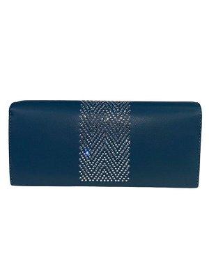 Кошелёк-портмоне со стразами, цвет голубой