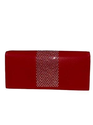 Кошелёк-портмоне со стразами, цвет красный