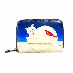 Яркая визитница с принтом кот, цвет синий+белый