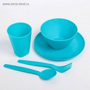 Набор посуды для детей, 5 предметов: тарелка, миска, стакан, ложка и вилка, цвет желтый