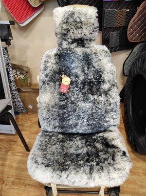Накидка натуральный мех овчина, короткий ворс, белый с опалом черным.