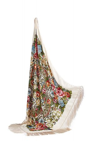 Платок с павлопосадским узором и бахромой,100 x 100 cm #197197