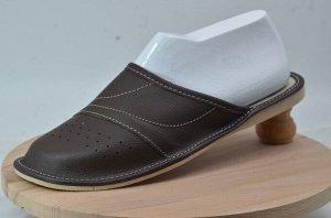 Обувь домашняя (Тапочки кожаные) цвет темно-коричневый