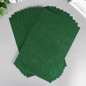 """Фетр жесткий 1 мм """"Тёмно-зелёный"""" набор 10 листов формат А4"""