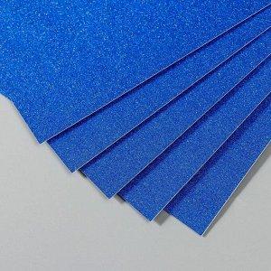 """Бумага на клеевой основе плотность 80 гр """"Блеск ярко-синий"""" набор 10 листов формат А4"""