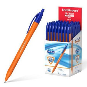 Ручка автоматическая шариковая Ultra Glide Technology U-208 Orange Matic 1.0мм синяя 47587 Erich Krause {Индия}