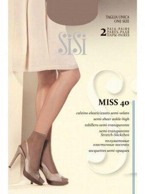 Носки Эластичные носочки SiSi Miss 40 New с комфортной резинкой и невидимым мыском плотностью 40 ден. 2 ПАРЫ в упаковке. 89% полиамид, 11% эластан