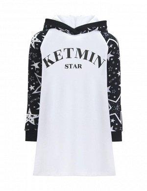 Платье для девочки KETMIN STAR КМ с капюшоном цв.Белый/Чёрный