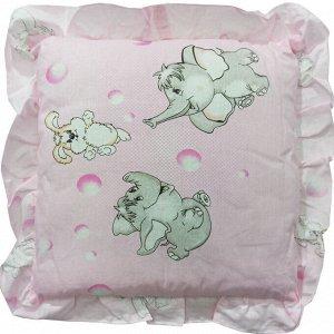 Подушка детская с рюшей 35х35см 0086 розовый
