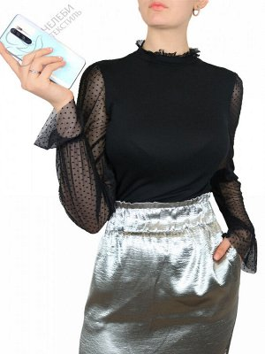 Водолазка Комбинированная женская водолазка из тонкого трикотажного полотна, обладает прекрасной растяжимостью. Прозрачные, удлиненные рукава с манжетами на тонкой резиночке, кружевной воротник стойка