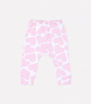 Брюки для девочки Crockid К 4718 светло-розовые сердечки на белом