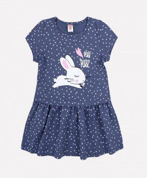 Платье для девочки Crockid К 5577 синий вечер горошек