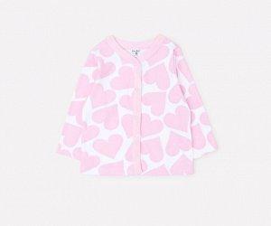 Кофточка для девочки Crockid К 300450 светло-розовые сердечки на белом