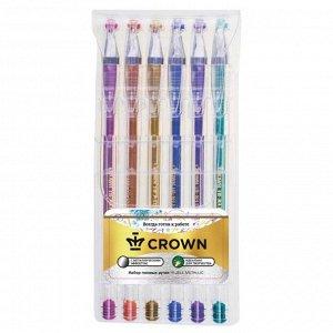 Набор гелевых ручек 6 цветов Crown, узел 0.7мм, металлик
