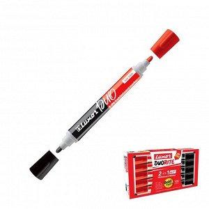 """Маркер для белых досок двухсторонний 1-3 мм Luxor """"Duorite"""" черный/красный, пулевидный"""