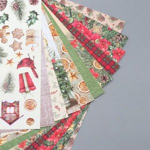 "Набор бумаги для скрапбукинга ""Our warm Christmas"" 10 листов, 20х20 см"