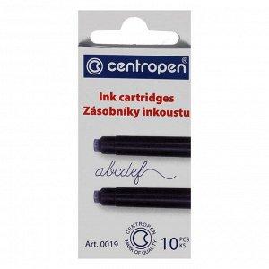 Картриджи для перьевых ручек Centropen 0019/10, 10 штук, чернила синие