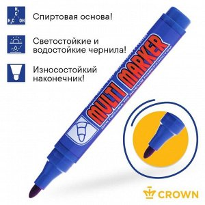 Маркер перманентный 3.0 мм Crown MULTI MARKER синий