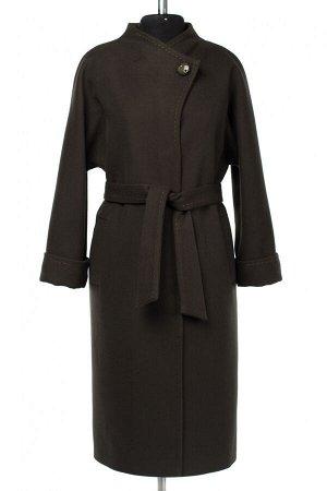 01-10260 Пальто женское демисезонное (пояс) Пальтовая ткань темно-зеленый