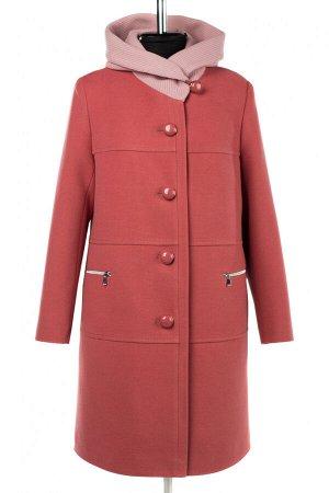 02-3048 Пальто женское утепленное Пальтовая ткань сухая малина