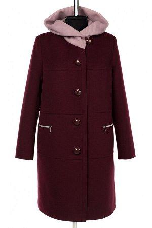 02-3043 Пальто женское утепленное Пальтовая ткань вино